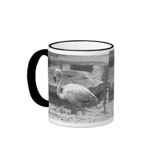 Flamingo wading in water B&W Ringer Mug