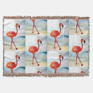 Flamingo Watercolor Art Throw Blanket
