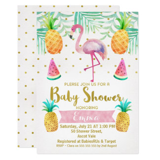 Flamingo Watercolor Baby Shower Invitation