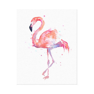 Flamingo Watercolor Painting Canvas Art Print
