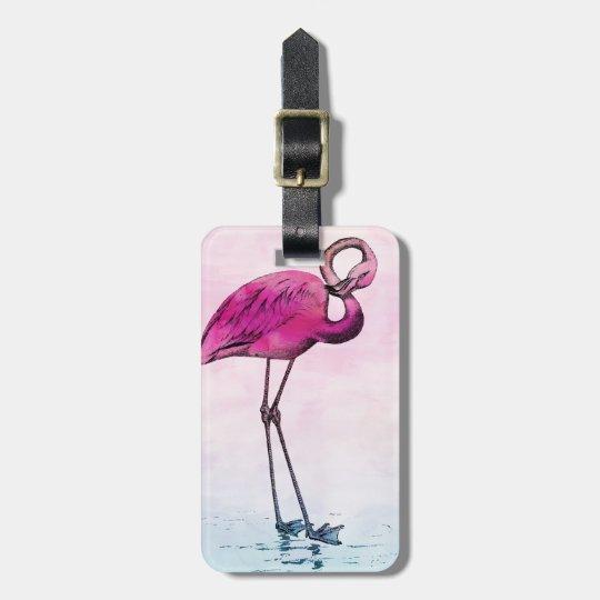 Flamingo Watercolor Vintage Pink Flamingos Retro Luggage Tag