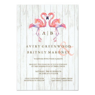 Flamingo Watercolor Wedding Invitations