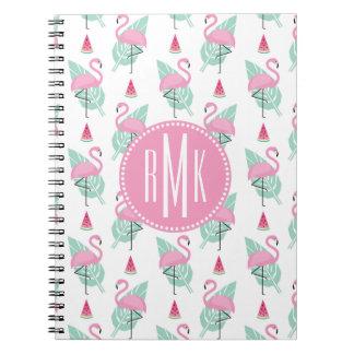 Flamingo & Watermelon Pastel Pattern Notebook