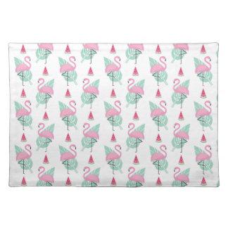 Flamingo & Watermelon Pastel Pattern Placemat