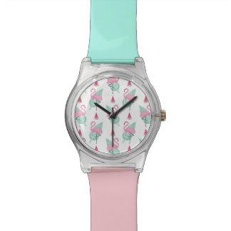 Flamingo & Watermelon Pastel Pattern Watch