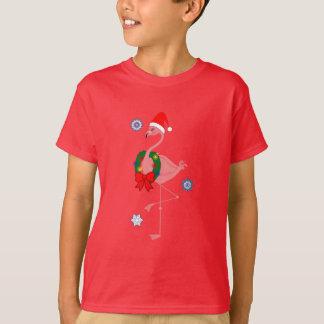 Flamingo with Santa Hat and Christmas Wreath T-Shirt