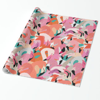 Flamingoes in Orange Gift Wrap Wrapping Paper
