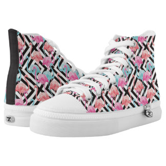 Flamingoes on Bold Design Pattern High Tops