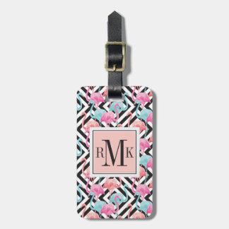 Flamingoes on Bold Design Pattern Luggage Tag