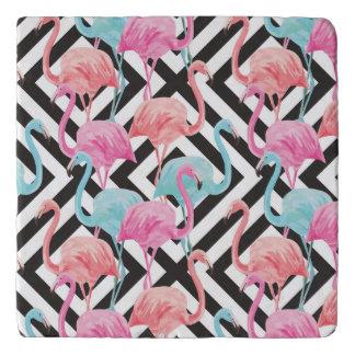 Flamingoes on Bold Design Pattern Trivet