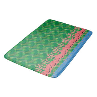 Flamingoes on Parade Bath Mat