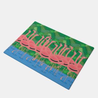 Flamingoes on Parade Doormat
