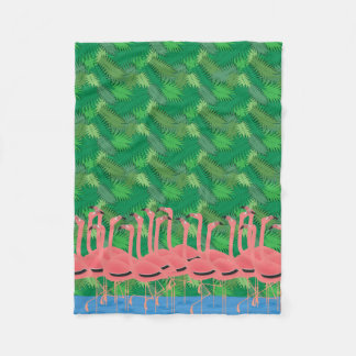 Flamingoes on Parade Fleece Blanket