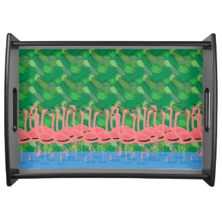 Flamingoes on Parade Serving Tray