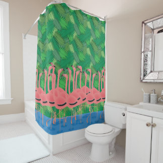 Flamingoes on Parade Shower Curtain