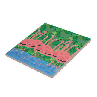 Flamingoes on Parade Tile