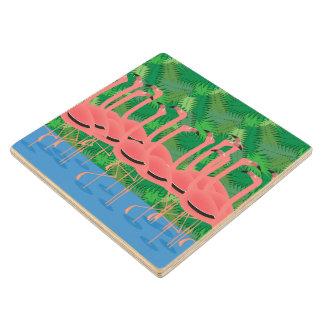 Flamingoes on Parade Wood Coaster