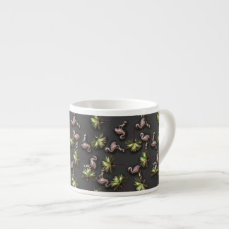 Flamingos And Palm Trees On Black Espresso Cup
