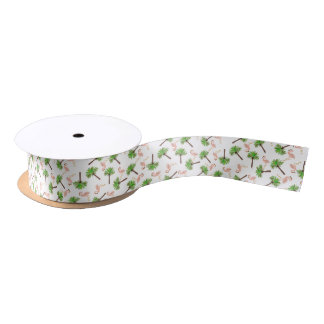 Flamingos And Palm Trees Satin Ribbon