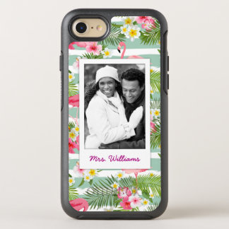Flamingos And Stripes   Add Your Photo & Name OtterBox Symmetry iPhone 8/7 Case