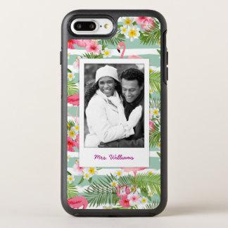 Flamingos And Stripes | Add Your Photo & Name OtterBox Symmetry iPhone 8 Plus/7 Plus Case