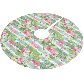Flamingos And Stripes Brushed Polyester Tree Skirt