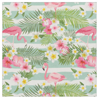 Flamingos And Stripes Fabric