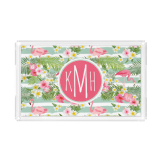 Flamingos And Stripes | Monogram Acrylic Tray