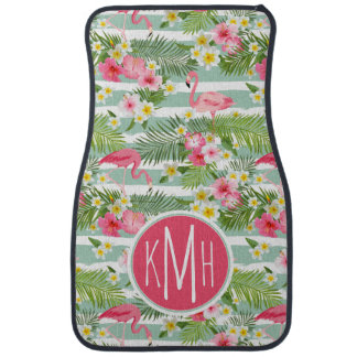 Flamingos And Stripes | Monogram Car Mat