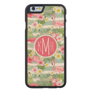 Flamingos And Stripes | Monogram Carved® Maple iPhone 6 Case