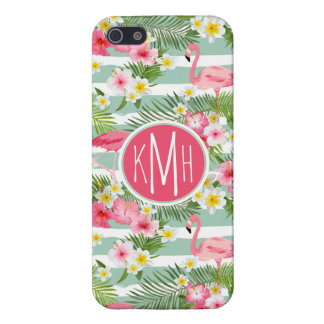 Flamingos And Stripes | Monogram Case For iPhone 5/5S