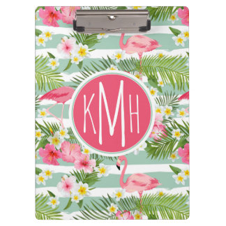 Flamingos And Stripes | Monogram Clipboard