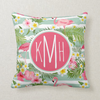 Flamingos And Stripes | Monogram Cushion