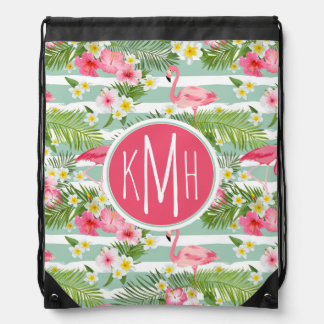 Flamingos And Stripes | Monogram Drawstring Bag
