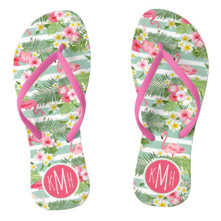 Flamingos And Stripes | Monogram Flip Flops
