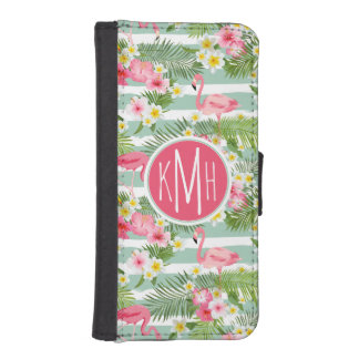 Flamingos And Stripes | Monogram iPhone SE/5/5s Wallet Case