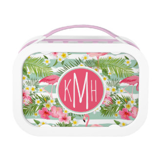 Flamingos And Stripes | Monogram Lunch Box