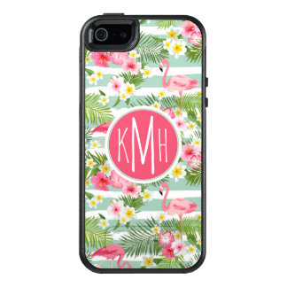Flamingos And Stripes | Monogram OtterBox iPhone 5/5s/SE Case