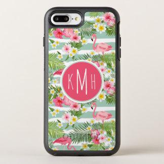 Flamingos And Stripes | Monogram OtterBox Symmetry iPhone 8 Plus/7 Plus Case