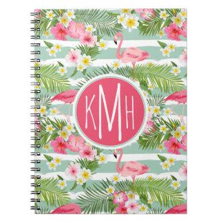 Flamingos And Stripes | Monogram Spiral Notebook