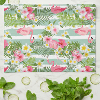 Flamingos And Stripes | Monogram Tea Towel