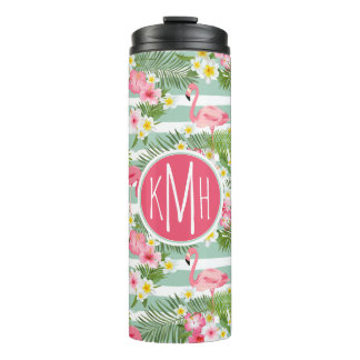 Flamingos And Stripes | Monogram Thermal Tumbler