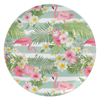 Flamingos And Stripes Plate