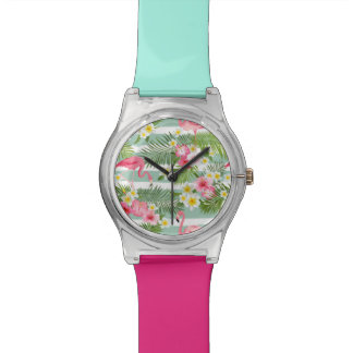 Flamingos And Stripes Wrist Watch