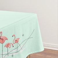 Flamingos Aqua Group border tablecloth