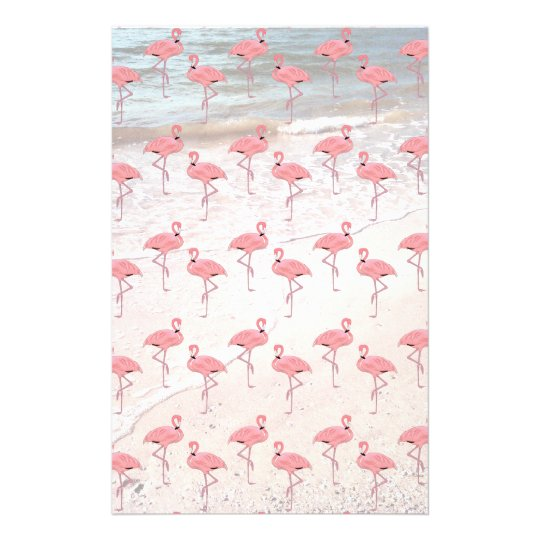 Flamingos Beach Patterned Scrapbook Paper Personalised Stationery