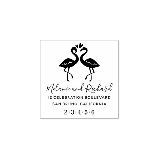 Flamingos Custom Names Wood Wedding Return Address Rubber