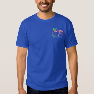 Flamingos Embroidered T-Shirt