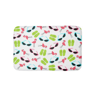Flamingos Flip Flops and Sunglasses Bath Mat