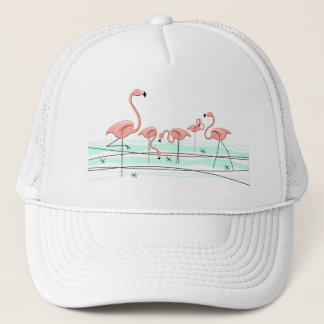Flamingos group trucker hat